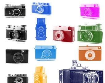 Old cameras Photoshop Brushes set. 13pcs.