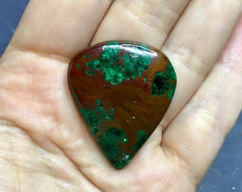 Natural malachite cabochon for jewelry making 60ct - DIY jewelry supply for wire wrapping, bead embroidery, macrame, soutache, etc