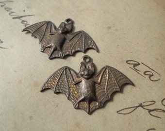 Oxidized Brass Bat Charms - 26mm x 17mm