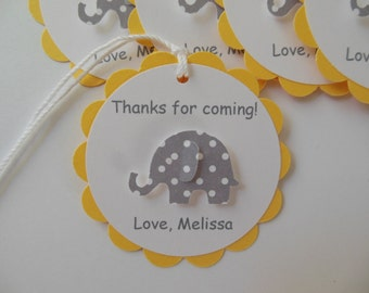 Elephant Party Favor Tags - Thanks for Coming - Gray Polka Dots, Yellow and White - Birthday Party - Baby Shower - Set of 6