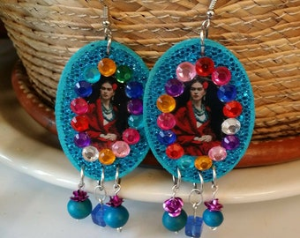 Frida earrings colorful mexican style