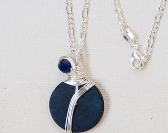 Navy Necklace, Dark Blue Necklace, Navy Jewelry, Wirewrapped Necklace, Navy Pendant, Sterling Silver Chain, Coconut Shell Necklace