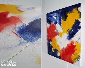 Large Abctract Oil painting | Abctract Painting | Modern Art | Cosmos spase| Original Painting Abstract yellow red blue expression impressiv