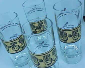 Shot Glass set; Vintage shot glass; B-52 shot glass; gold shot glass; gift for him; hostess gift; retro shot glass; Vintage barware