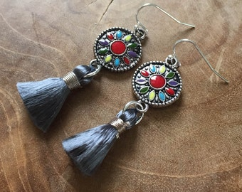 Boho Tassel Grey- A Bohemian style pair of dangling earrings with colored enamel and a vintage silk tassel, grey, red, blue, green, yellow