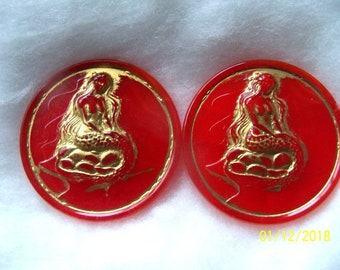 Czech  Moonglow Glass Exclusive  Buttons  2 pcs    MERMAID    41mm     EX 15