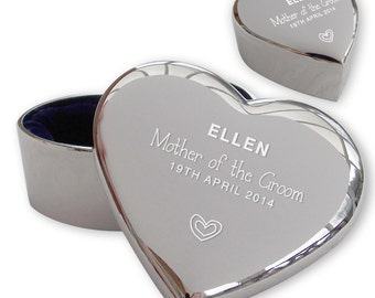 Personalised engraved MOTHER OF the GROOM heart shaped trinket box wedding thank you gift idea  - TRW2
