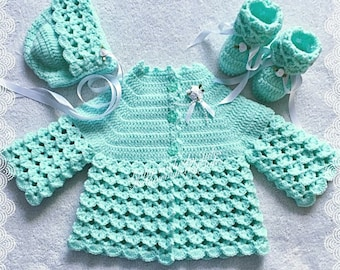 Crochet Baby Gift, Baby Crochet Matinee Set, Traditional Crochet, Mint Green,Baby Shower Gift, Crochet Gift Set, 0-3mths, Baby Girl, Crochet