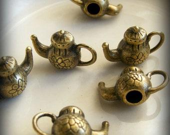 Antique Brass Tone Tibetan Teapot Charms (5 pcs) 10x15mm