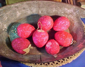 Antique c. 1900 Spun Cotton Fruit, Strawberry, Feather Tree, Christmas Ornaments, German, Russian