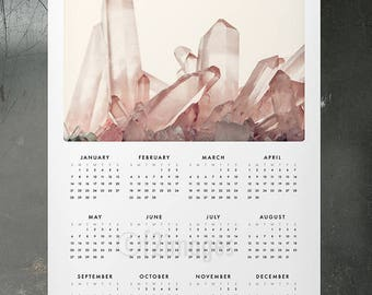 "SALE! 2018 Photo Wall Calendar 11x17""; Pink Quartz, crystal calendar, whole year, geology, photo calendar, fine art calendar,office gift"
