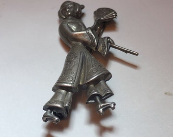 Vintage 1950's Lang Sterling Silver Asian Lady with Fan Pin or Brooch - Free Shipping USA