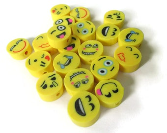 25 Yellow Emoji Beads Polymer Clay Smiley Face Beads Coin Beads Mixed Beads Disc Beads Yellow Face Beads