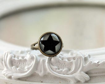Black star ring  feminine black purple star night planet astronomy science
