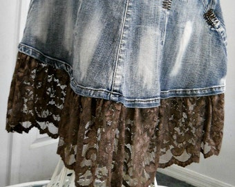 Ruffled taupe lace mermaid jean skirt metallic mocha embellished Renaissance Denim Couture fairy goddess belle bohémienne
