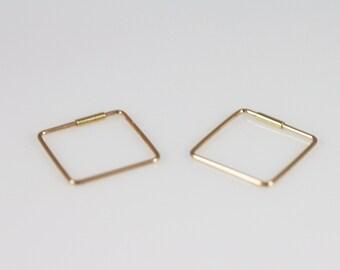 14K solid gold simple earrings,14K square hoop Earrings, 14K minimalist earrings, 14K gold hoop earrings,14K everyday earrings,14k 15mm hoop
