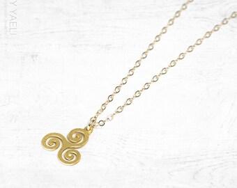 Celtic necklace, celtic jewelry, spiral necklace, celtic pendant, irish necklace, celtic knot necklace, dainty necklace, swirl, spiral