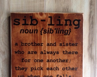 Sibling Sign - distressed edges  (personalized)