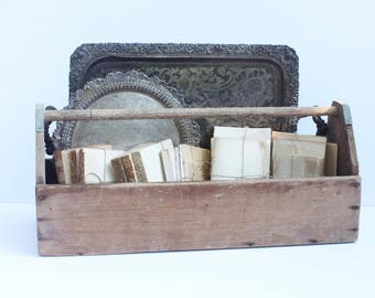 Large Primitive Wooden Tool Tote, Tool Caddy, Book Storage, Bar Caddy, Garden Tote