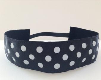 Black with White Dots No Slip Headband - 1.5 inch wide