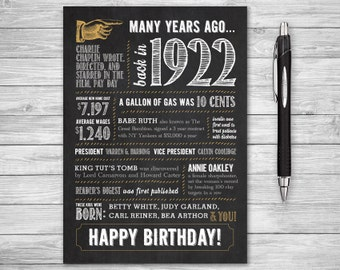 5x7 - 96th Birthday, Printable Folding Greeting Card, Many Years Ago Back in 1922, Instant Digital Download, DIY Print at Home, Chalk