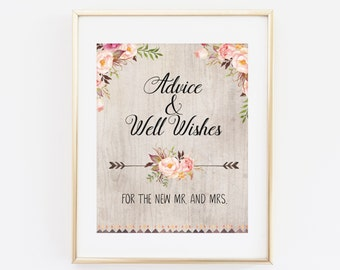 Advice, Well Wishes, Wedding Advice for the New couple, Wedding Advice Sign, Bridal Shower Sign, Wedding Sign, Printable Floral wedding sign
