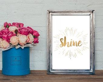 Shine Wall Art, A2, A3, A4, 8x10, Instant Download, Shine Printable, DIY, Digital Download, Decor, Glitter Art, Modern