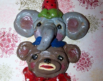 Folk Art Whimsical Elephant Sock Monkey Oooak Ornament Boutique