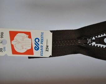 35cm separable zipper Z54 dark brown Walnut stain 990 mesh plastic molded
