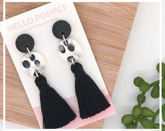 Polymer clay earrings - fimo earrings - Tassel Earrings - Hypoallergenic earrings - stainless steel studs - Statement Earrings