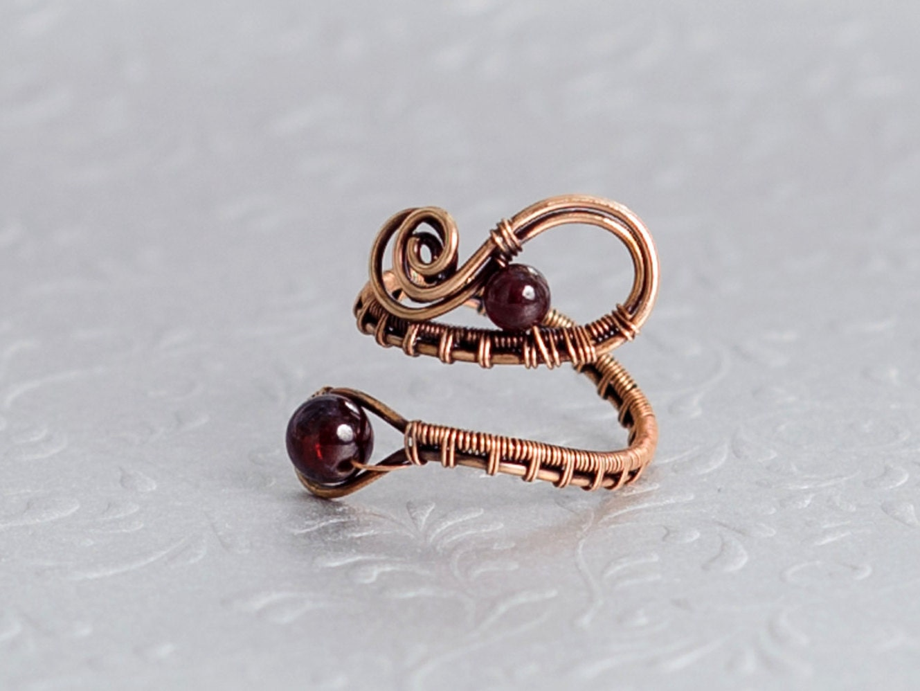 Garnet Ring Copper Ring Adjustable Ring Copper Jewelry Natural