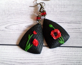 Poppy earrings Black earrings Large earrings Red poppy Poppy jewellery Poppy jewelry Poppy lover gift Floral earrings Romantic earrings