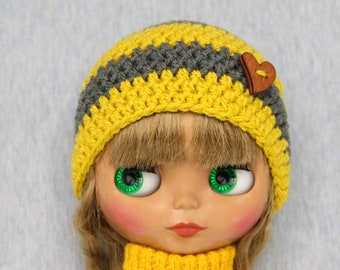 Crochet striped Blythe hat /beanie (grey/yellow/mustard) with wooden button.