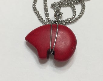 18 Inches Red Zuni Bear Pendant Silver Chain Necklace, Fetich Bear, Totem animal, Stainless Steel, Southwest, Woman, Jewelry, Girls,