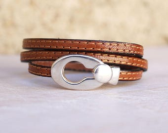 Dili - Silver Oval buckle - bracelet leather women bracelet