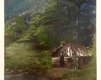 Cabin in the woods 8 x 10 acrylic painting