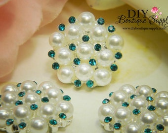 Pearl & Rhinestone buttons AQUA BLUE Flatback Embellishments - Bridal Supplies flower centers Headbands crystal bouquet  5 pcs 23mm 196047