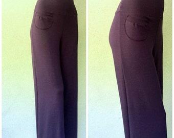 Extra wide-leg pants, organic cotton knit jersey