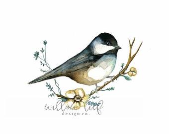 Sweet Chickadee Bird Art, bird print, printable art, Watercolor printable,  Home Decor