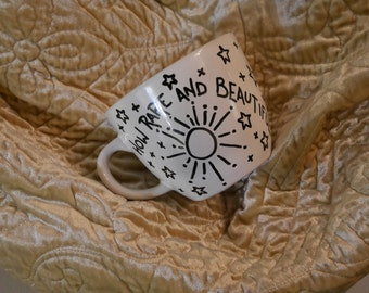 How Rare and Beautiful sunshine Mug with Saying personalized mug gift for friends hostess present co-worker friend gift under 20 Moon Stars
