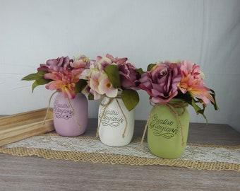 "Painted vases ""Shabby Chic flowers""-Pink color-Set Nr. 3 Jars medium-centerpieces-Home Decor-Flowers Centerpieces"