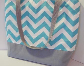 Chevron Tote Bag . Turquoise Gray . chevron beach bag . Standard size . teacher tote . bridesmaid gift  . Monogram Available