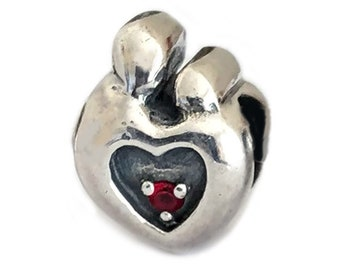 Mother and Child Large Hole Bead Sterling Silver Heart with Cz