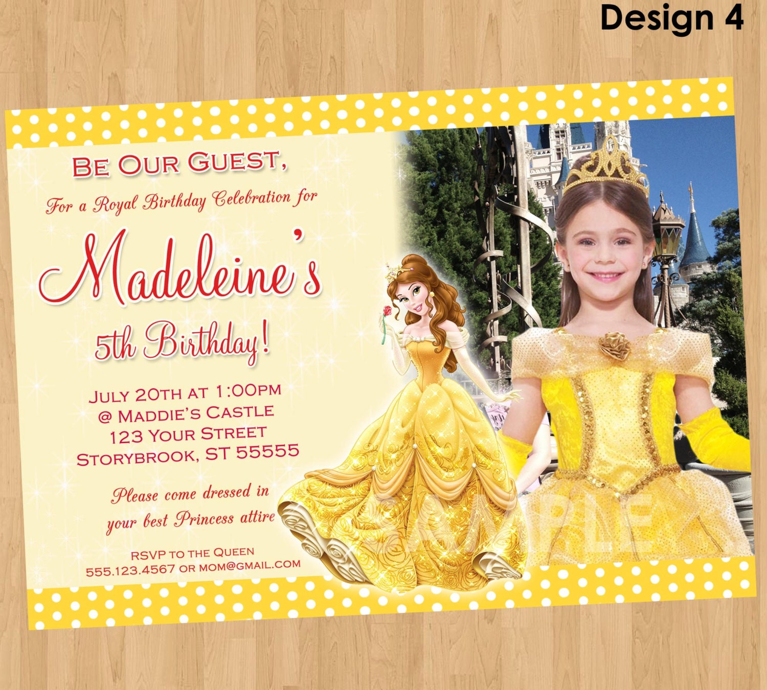 Princess Belle Invitation Beauty And The Beast