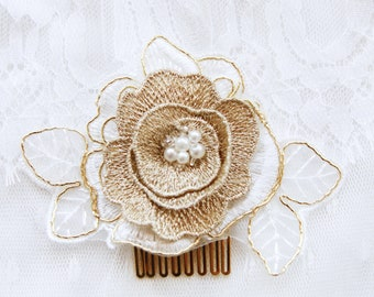 Bridal Headpiece Flower Hair Comb - Wedding Headpiece - Ivory Gold Bridal Flower Hair Comb Bridal Comb