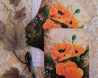 Poppy Note Cards, Floral Stationary, Orange Flower Cards, Blank Note Cards, Stationary Cards, 4 cards to a pack