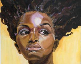 "Art Print, ""Alarmed on Yellow"", Wall Art, Original Art, Original Painting, Portrait Painting, Prints, Figurative Art, Hair Art, 12x12, 8x8"