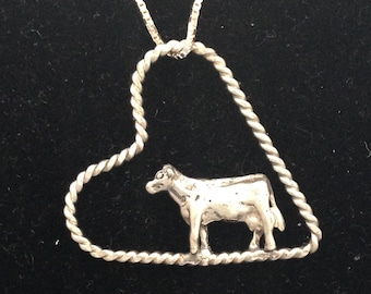 Dairy Cow in Floating Heart Necklace Pendant in Sterling Silver and on an 18 inch Silver Box Link Chain 4H FFA Show Cattle Livestock Jewelry