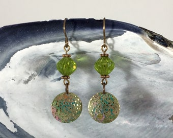 Earrings: patina in green, yellow, pink + Czech glass beads