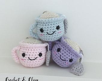 Teacup Keychain ~ Amigurumi ~ Crochet Teacup ~ Miniture Teacup